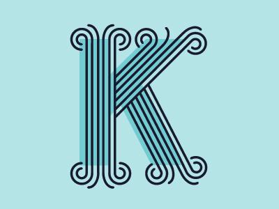 K.  k whimsical letter dropcap offset blue lines