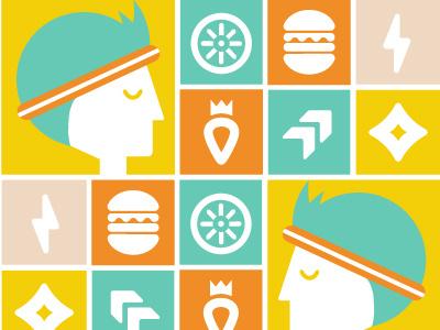 Spirit royalty king fast burger food running sport athletic lightening yellow energy spirit