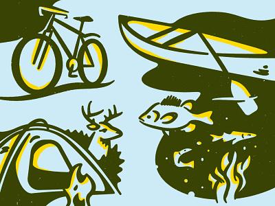 Explore More illustration paddle camp fish deer tent bike canoe nature animals adventure
