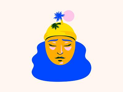 Hawaii on the Brain water sea land nature illustration face woman sand sun ocean tree palm tree palm island hawaii