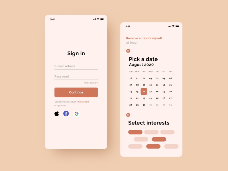 Mobile UI Orange design latvia designer adobe xd app ui trip planner orange ui designer ios mobile ios mobile app ios uidesign website concept