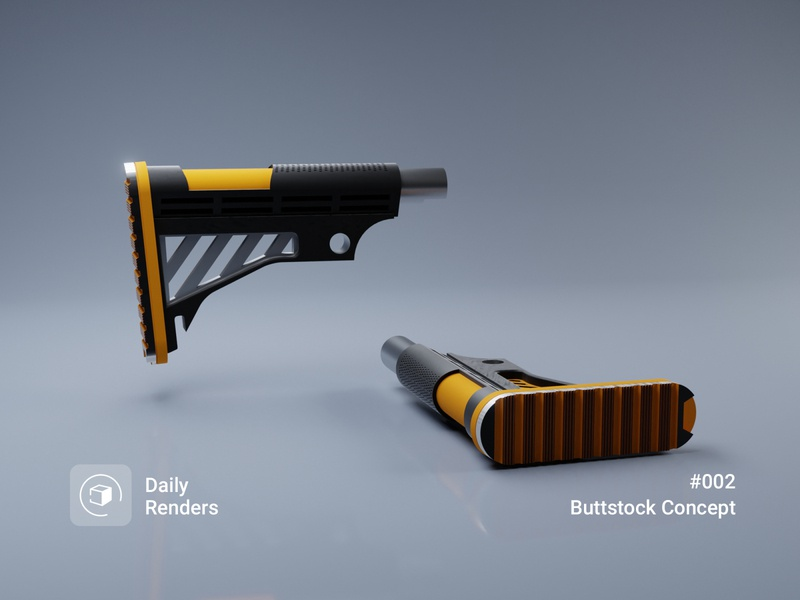 Daily Renders 02 | Buttstock Concept modeling hardsurface clay daily weapon model blender render 3d