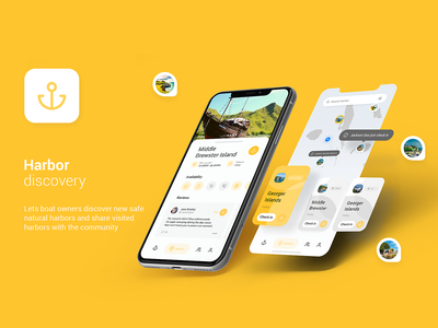 Freebie - Harbors Discovery ux ui home profile friends share island network social navigation ship harbor discover transport location map boat free freebie app