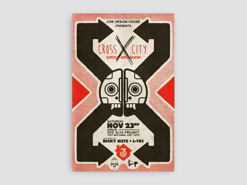 Cross City poster (2013) artshow typography graphicdesign mask design illustration graphic design