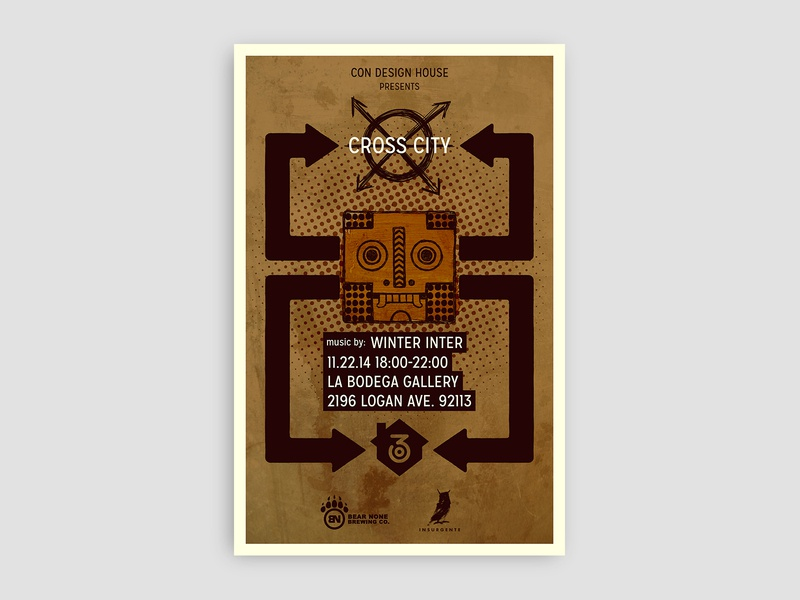 Cross City poster (2014) graphicdesign artshow folk art mask art show graphic design design illustration art direction