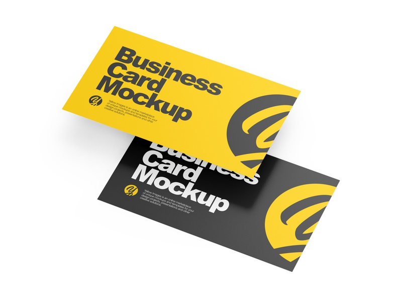 Two Paper Business Cards Mockup paper card marketing high-angle shot half side view flyers flyer carton cards card calling card business cards business card business brochures brochure branding brand advertisment advertising adv