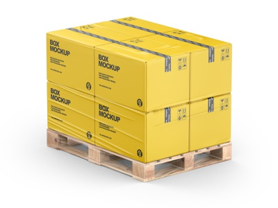 Pallet W/ 8 Paper Boxes Mockup yellowimages transportation transparent tape stretch storage shrink pallet packaging pack mockup mail film duct tape cover carton cardboard branding boxes box