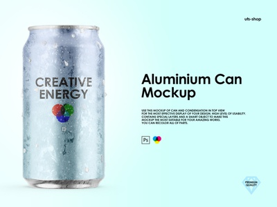 Aluminium Can Mockup sparkle product psd beer energy free droplets cola adv design ice condensation soda drink photoshop template branding aluminum mockup can