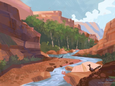 Red Rock Runners wildlife environments digital painting travel adventure outdoors trees rocks road runners illustration sonoran desert river canyon hiking red rocks canyon