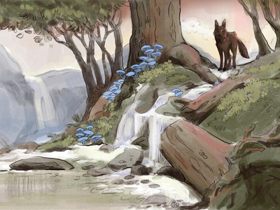 Hayzien Woods - Battle of the Wolf and the Mushrooms illustration game art concept art woodland fantasy waterfall landscape illustration forest fire woods mushrooms troll wolfpack wolf