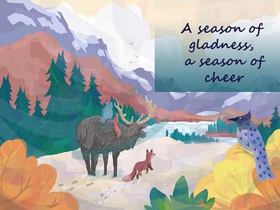 A Season of Gladness - Greeting Card digital painting woodland creatures nature logo holidays christmas bird illustration nature design fall autumn art poppers illustration