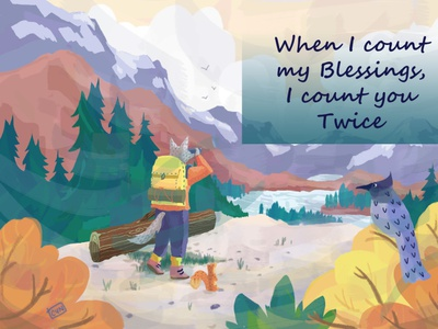 I Count You Twice - Greeting Card animals camping hiking digital painting holidays christmas bird illustration nature fall autumn design art poppers illustration