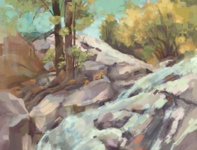 Chipmunk Trail Lookout artpoppers cyndishawdraws colorado adventure outdoors hiking wildlife digitalpainting conceptart landscape chipmunk river trees boulders rocks waterfall mountains