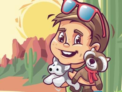 My Arizona Adventure characterdesign cartoon design graphicdesign digitalart illustrator illustration vector flatcolor cute toys kids adventrue travel desert saguaro superstitionmountains arizona