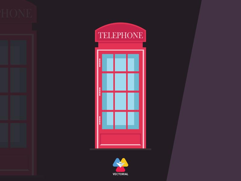 Callbox - London telephone booth vectorial icon logo tutorial vector design illustrator illustration flat design flatdesign flat