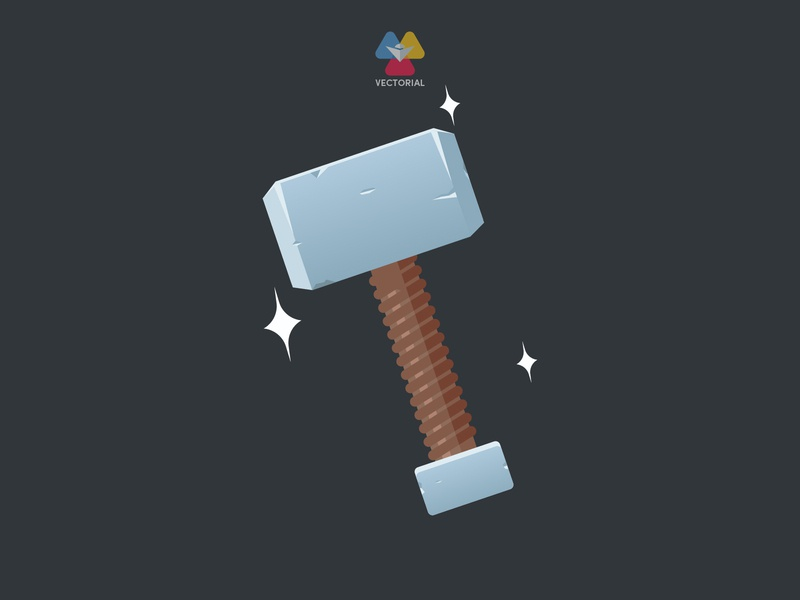 Thor Hammer vectorial icon logo tutorial vector design illustrator illustration flat design flatdesign flat
