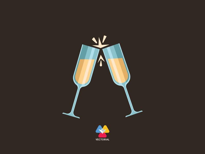 Champagne vectorial icon logo tutorial vector design illustrator illustration flat design flatdesign flat