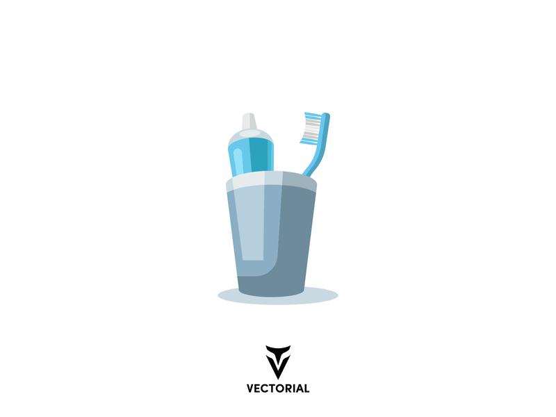Toothbrush and toothpaste logo tutorial vector design illustrator illustration icon flat flat design flatdesign tooth toothpaste toothbrush