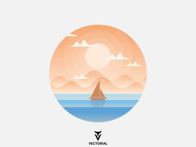 Landscape icon logo tutorial vector design illustrator flat design flatdesign illustration flat sea landscape sea landscape