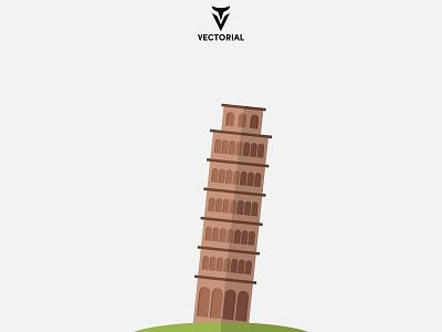 Pisa Tower icon logo tutorial vector design illustrator flat design flatdesign illustration flat tower pisa tower pisa