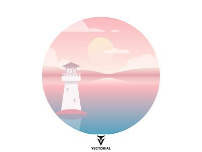 Landscape icon logo tutorial vector design illustrator flat design flatdesign illustration flat landscape lighthouse
