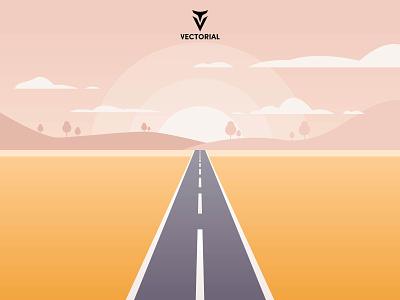 Landscape vectorial icon logo tutorial vector design illustrator flat design flatdesign illustration flat road landscape road landscape