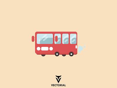 Red Bus flat bus school bus bus logo branding ui vector design illustrator flatdesign flat design illustration flat