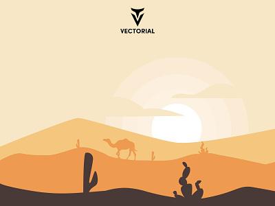 Desert branding logo vector design illustrator flatdesign illustration flat design flat silhouette camel silhouette camel landscape desert landscape desert