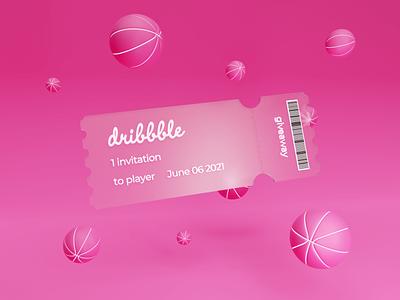 Dribbble invite 3dillustration design hellodribbble ticket player dribbbleinvite dribbble invitation 3d