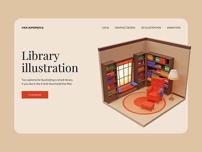 Library illustration FREE free 3d illustration download illustration design 3d