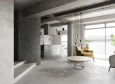 Interior rendering - Concrete.
