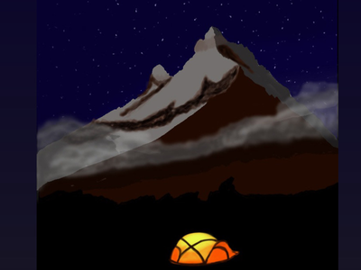 Camping dribbble photoshop drawing