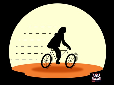 Woman riding bike dribbble photoshop drawing drawing illustration design creation vector illustrator cc