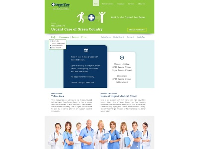 Web UI - Urgent Care of Green Country web webpage website web ui ui ux ui  ux userinterface web design webpage design design flat minimal