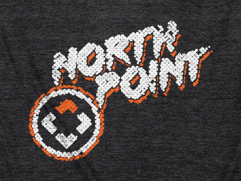 Shirt Design // NPCC [1] north point community church halftone circle charcoal gray white orange logo shirt