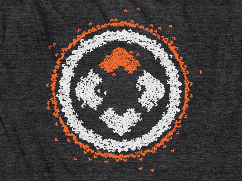 Shirt Design // NPCC [2] north point community church bits particles circle charcoal gray white orange logo shirt