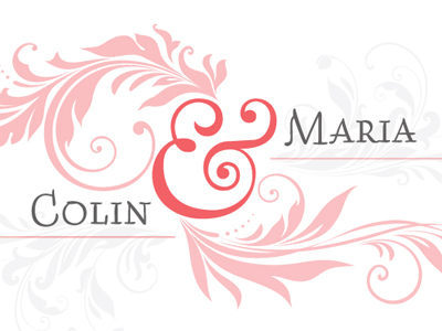 Colin & Maria (Wedding Announcement) marriage filigree wedding branding ampersand logo