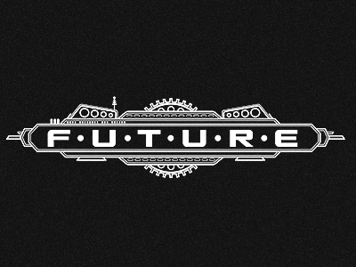Future • [Abandoned Project] future retro illustration gears antenna white black