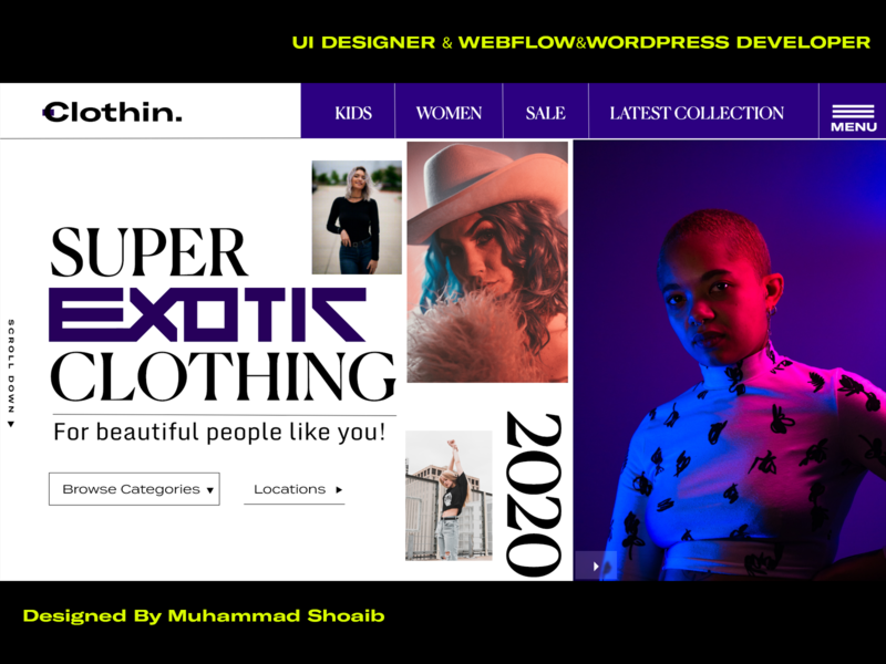 Exotic Clothing Modern Header ecommerce design ui ecommerce design ui  ux header branding webdesign uidesign freelance