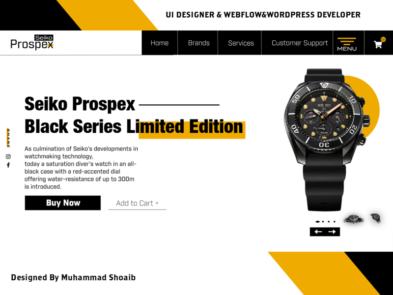 Seiko Watch Product Page for eCommerce Modern Header experience ui  ux design ecommerce ecommerce design webdesign branding header freelance uidesign