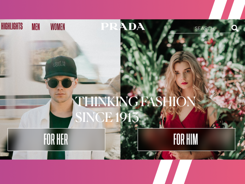 PRADA Landing Page Exploration 2020 Modern Header navigation bar header design modern ui ecommerce design uidesign ecommerce design ui  ux header branding webdesign freelance