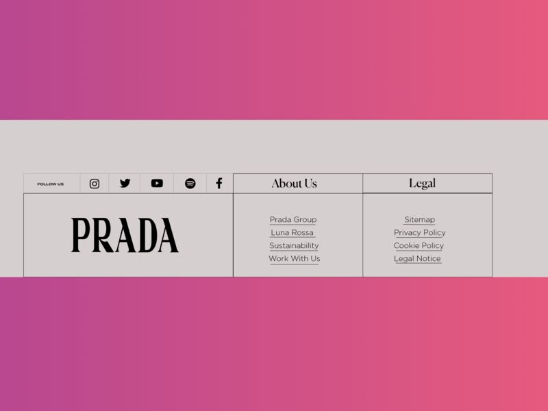 Prada Landing page footer Section New Unique experiment modern experience ecommerce design ecommerce header branding webdesign uidesign freelance