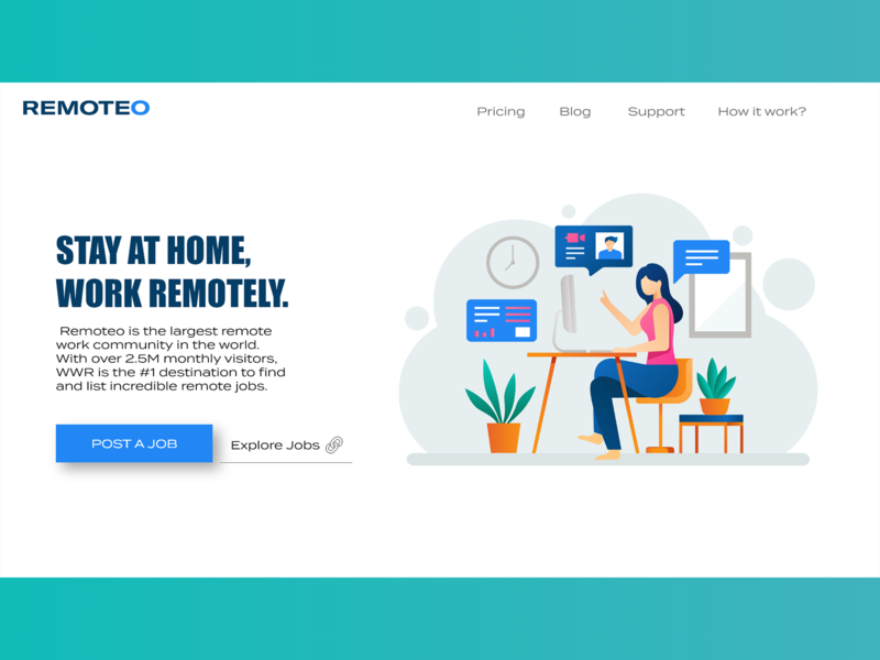 Clean and Simple Illustration Landing page for remote work modern experience ui design ui  ux ecommerce header branding webdesign uidesign freelance