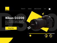Nikon Camera Photography Product Landing Page Modern Header landing page design landing page experience adobe xd ecommerce ui  ux header uidesign webdesign freelance