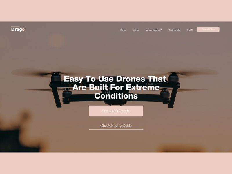 Landing Page for Drones website adobe xd modern experience header uidesign design ui ux user website concept freelance ui ui ux webdesign website design