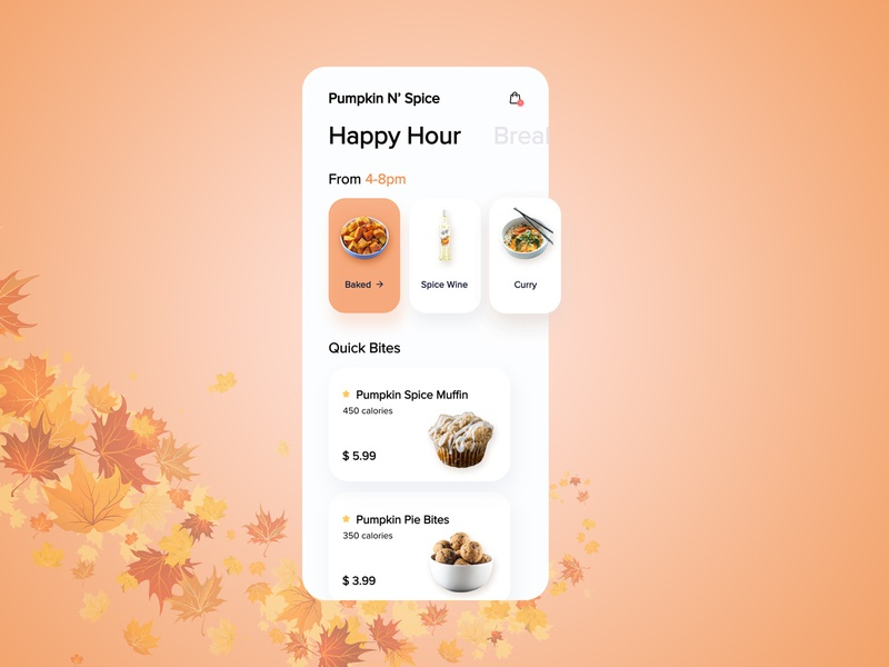 Pumpkin N' Spice App pumpkin pie pumpkin spice pumpkin wireframe mobile ui mobile app design adobexd uiux design adobe xd  photoshop  ui ux adobe photoshop