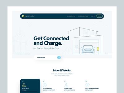 EVerconnected illustration clean simple electric vehicle charging ev homepage ux ui saas b2b website