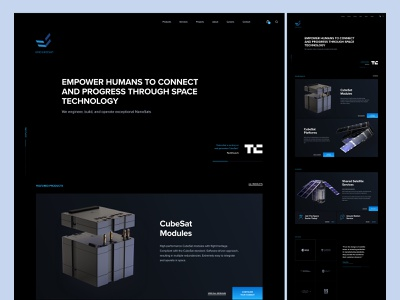 ENDUROSAT Homepage clean simple dark endurosat cubesat space technology sattelite nanosats ux ui saas b2b homepage website