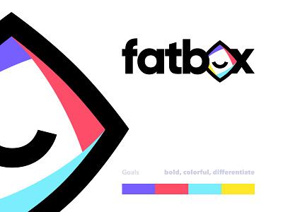 Fatbox Logo Exploration v.2 playful colorful branding packaging box logo mark logotype b2c saas