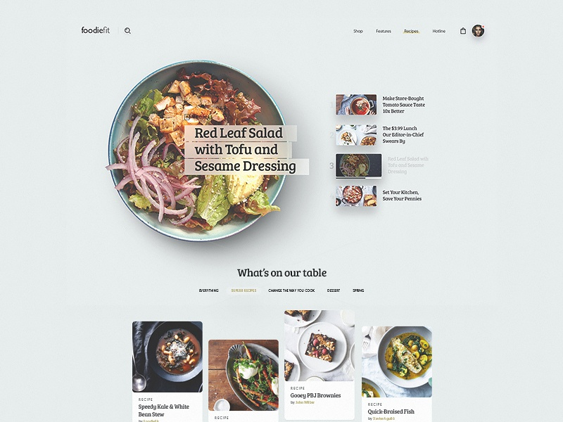 Foodiefit Homepage fit fitness ux ui e-commerce shop recipes homepage website food